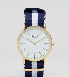 Часы с белым циферблатом и темно-синим парусиновым ремешком в полоску Reclaimed Vintage Inspired эксклюзивно для ASOS - Темно-синий