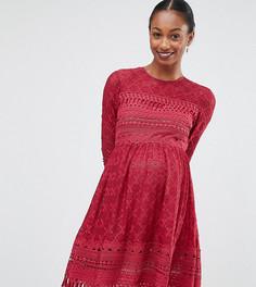 Приталенное кружевное премиум-платье АSOS Maternity - Красный