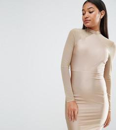 Облегающее платье с сетчатыми рукавами NaaNaa - Коричневый