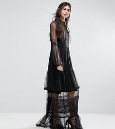 Платье макси для выпускного из кружева кроше White Cove Tall - Черный