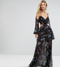 Платье макси с открытыми плечами и цветочным принтом White Cove Tall Premium - Мульти