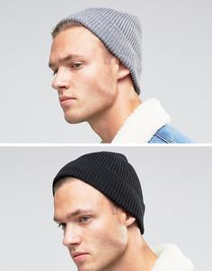 2 шапки-бини в рыбацком стиле (черная и серая) ASOS - СКИДКА - Мульти