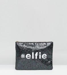 Эксклюзивный блестящий клатч с новогодним дизайном Valery Elfie - Черный