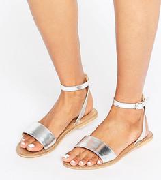 Кожаные сандалии для широкой стопы ASOS FLIQUE - Серебряный