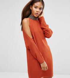 Платье мини с вырезами на плечах ASOS TALL - Коричневый