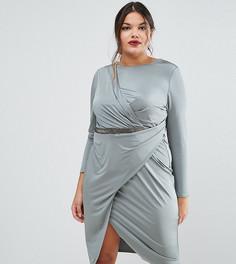 Платье миди с запахом ASOS CURVE - Серый