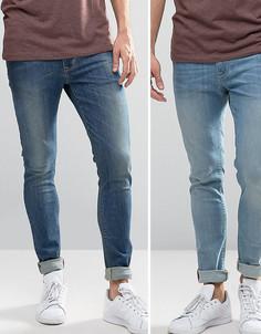 2 пары джинсов скинни (голубые, синие) ASOS - СКИДКА - Синий