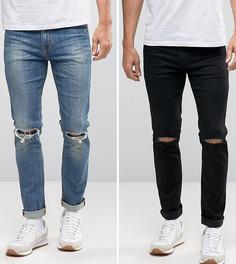 Набор из 2 джинсов скинни с рваной отделкой (черные и синие) ASOS - СКИДКА - Мульти