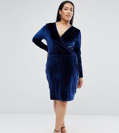 Бархатное платье-футляр с запахом ASOS CURVE - Темно-синий