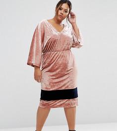 Контрастное бархатное платье миди с рукавами-кимоно ASOS CURVE - Розовый