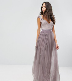 Платье макси из тюля с рюшами на рукавах Needle & Thread Swan - Фиолетовый
