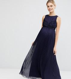Плиссированное платье макси для беременных ASOS Maternity - Синий