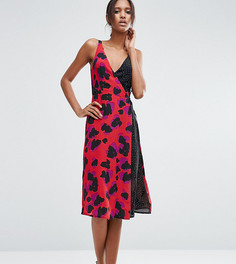 Платье миди с запахом и леопардовым принтом ASOS TALL - Мульти