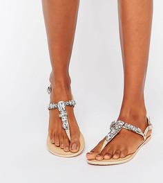 Кожаные декорированные сандалии для широкой стопы ASOS FAWNE - Бежевый
