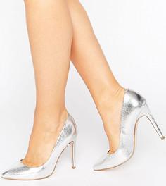 Туфли для широкой стопы на каблуке с острым носком ASOS PLAYFUL - Серебряный