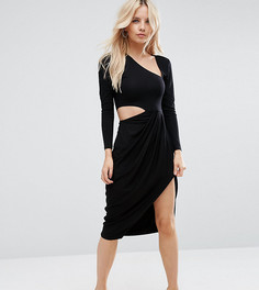 Платье миди с запахом и вырезами ASOS PETITE - Черный