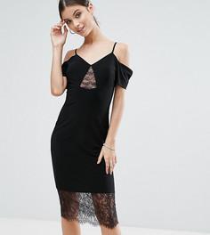 Платье-футляр с открытыми плечами и кружевными вставками ASOS PETITE - Черный