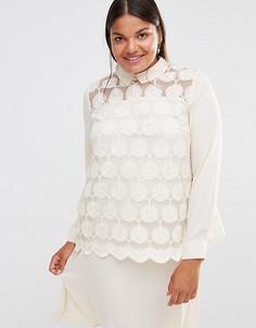 Кружевное платье с длинными рукавами Lovedrobe - Кремовый