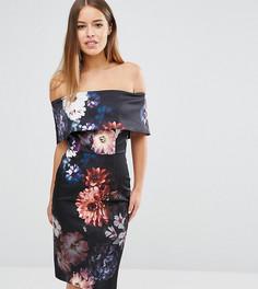 Платье-футляр с вырезом лодочкой и цветочным принтом ASOS PETITE - Мульти