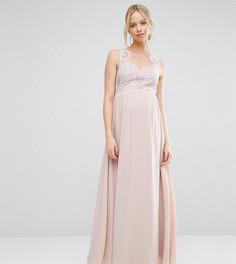 Платье макси для беременных с кружевным лифом и вырезом сердечком Chi Chi London Maternity - Розовый