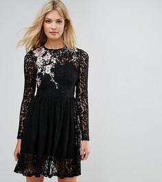 Кружевное платье мини с цветочной вышивкой ASOS TALL - Черный