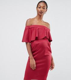 Платье-футляр для беременных с атласным топом ASOS Maternity PREMIUM - Красный