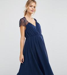 Кружевное платье миди ASOS Maternity Kate - Темно-синий