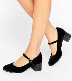 Бархатные туфли для широкой стопы на блочном каблуке с блестками New Look - Черный