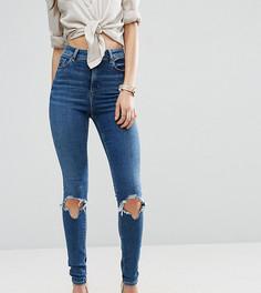 Темные джинсы скинни с рваными коленями ASOS TALL RIDLEY - Синий