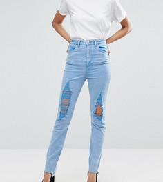 Узкие джинсы в винтажном стиле с завышенной талией ASOS TALL FARLEIGH - Синий