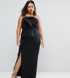 Платье-бандо макси с отделкой из органзы ASOS CURVE RED CARPET - Черный