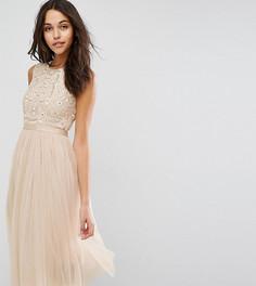 Платье миди из тюля с вышивкой Needle & Thread Prarie - Бежевый