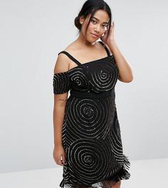 Платье с широким вырезом, отделкой и бахромой Lovedrobe Luxe - Черный