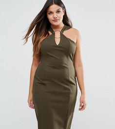 Платье миди с металлическим кольцом Lavish Alice Plus - Зеленый