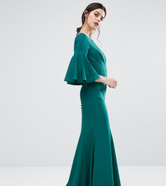 Платье макси с пуговицами сзади и рукавами-колокол Jarlo Petite - Зеленый