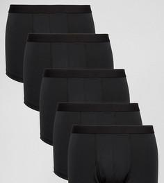 Комплект из 5 пар черных боксеров-брифов из микрофибры ASOS - СКИДКА - Черный