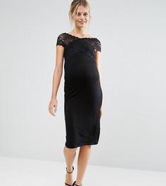 Платье миди для беременных со спущенными плечами и кружевом ASOS Maternity - Черный