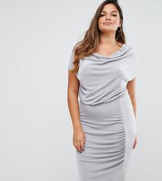 Платье миди со свободным воротом Missguided Plus - Серый