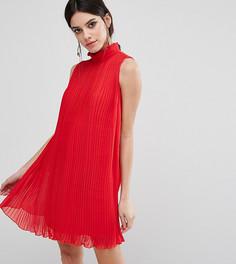 Свободное платье без рукавов с высокой горловиной и складками ASOS PETITE - Красный