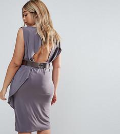 Платье миди с открытой спиной и ремнем металлик ASOS CURVE - Серый