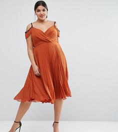 Приталенное платье миди с кружевной отделкой и плиссировкой ASOS CURVE - Оранжевый