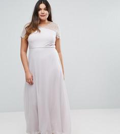 Платье макси с кружевными вставками ASOS CURVE - Серый