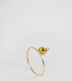 Серебряное позолоченное кольцо с камнем для родившихся в ноябре ASOS - Желтый