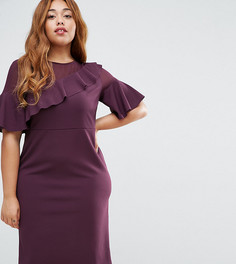 Платье с прозрачными ткаными вставками и оборками ASOS CURVE - Красный