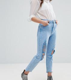 Узкие джинсы в винтажном стиле с завышенной талией, прорехами и неровно обрезанным низом штанин ASOS PETITE FARLEIGH - Синий
