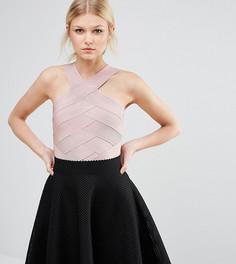 Бандажное боди с перекрестным дизайном True Decadence Petite - Розовый