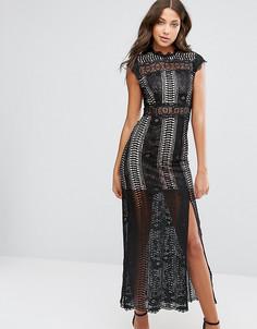 Кружевное платье макси с высоким разрезом True Decadence Tall - Черный