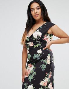 Присборенное сбоку платье с цветочным принтом Paper Dolls Plus - Черный