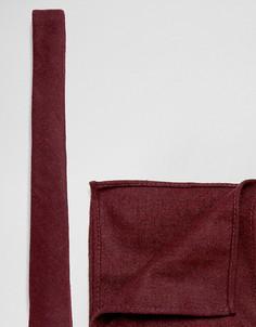 Набор из фактурного галстука и платка для нагрудного кармана бордового цвета ASOS - Красный