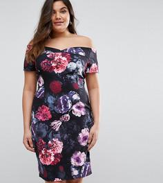 Платье с цветами и открытыми плечами Paper Dolls Plus - Мульти